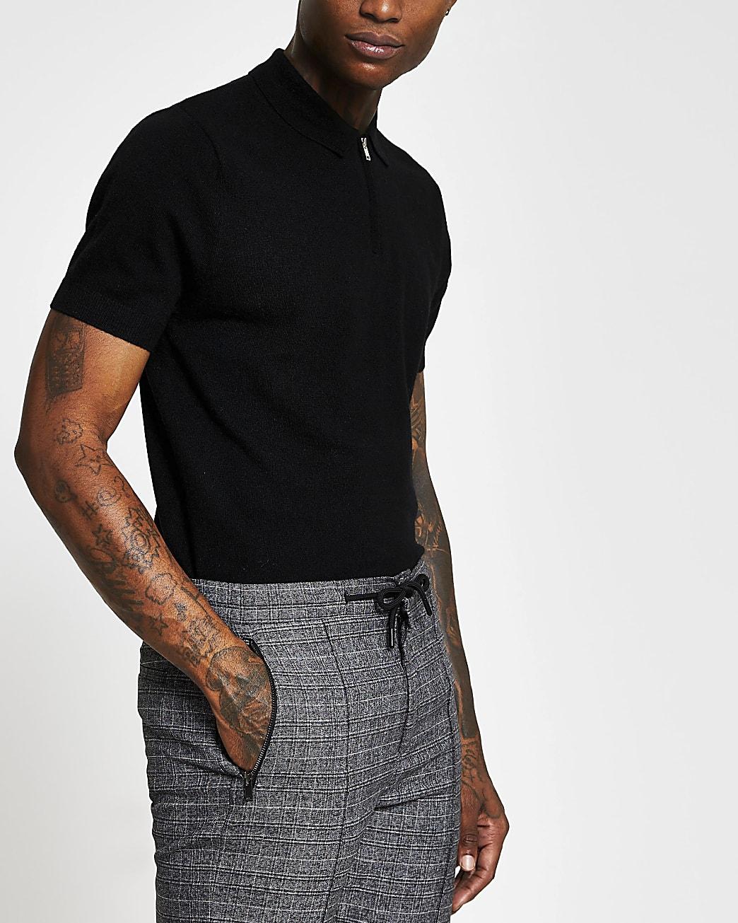 Black zip short sleeve polo shirt