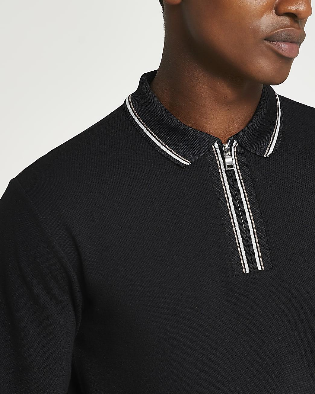 Black zip slim fit long sleeve polo shirt