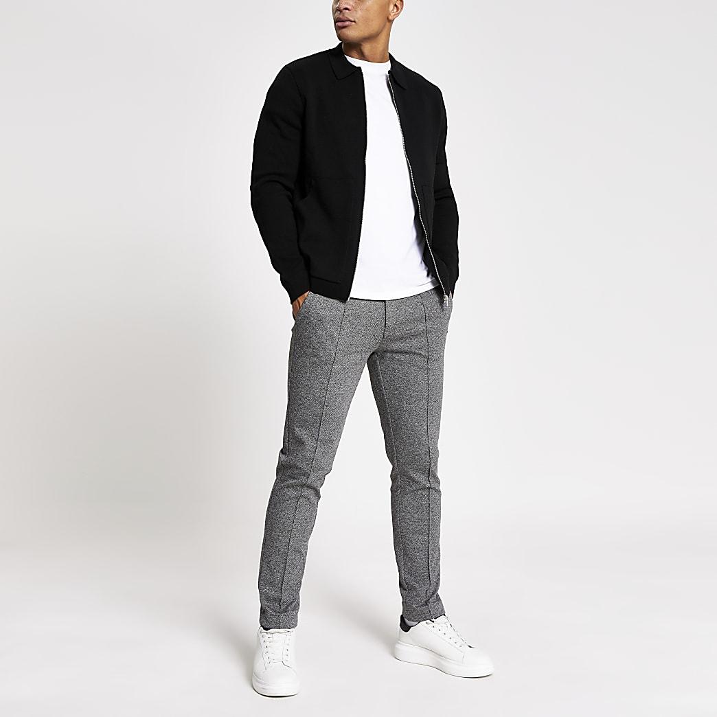 Schwarze Hemdjacke aus Strick mit durchgehendem Reißverschluss