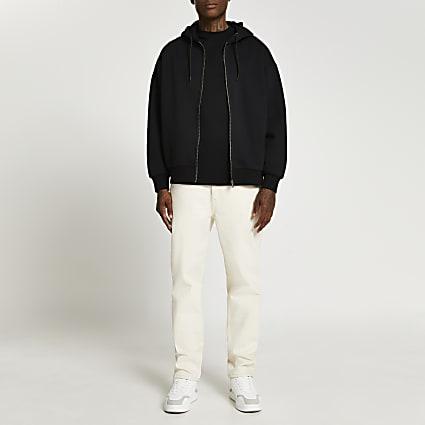Black zip through oversized hoodie