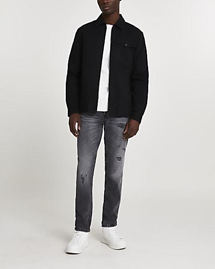 Black zip through shacket