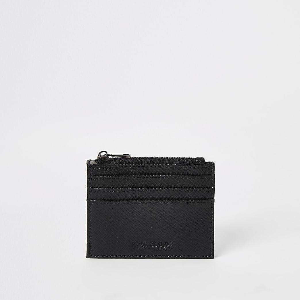 Zwarte portemonnee met kaarthouder en rits bovenop