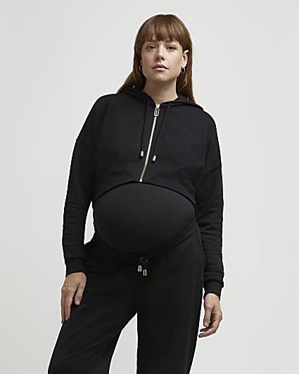 Black zip up maternity hoodie
