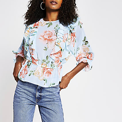 Blue - Light Floral Ss Frill Grazer Top