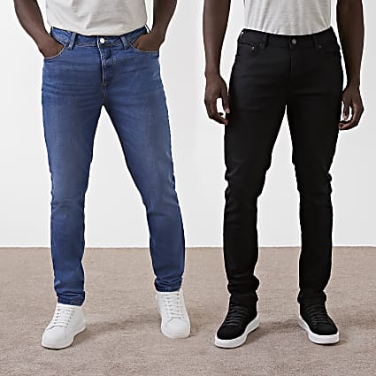 Blue & black slim fit jeans 2 pack
