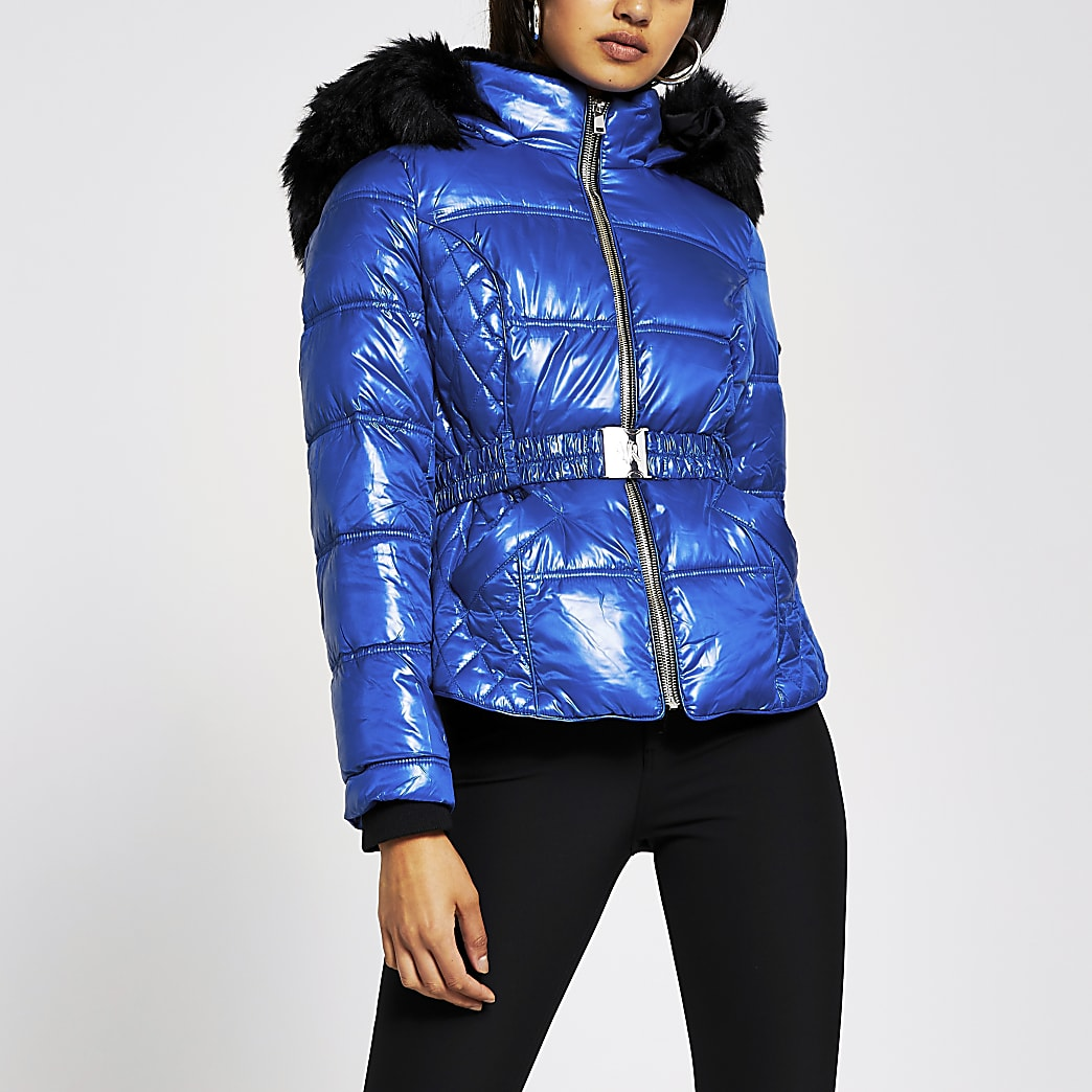 Blue  double zip belted padded coat