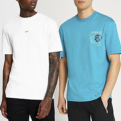 Blue & white graphic t-shirts 2 pack