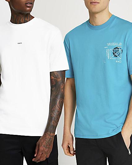 Blue & white regular graphic t-shirts 2 pack