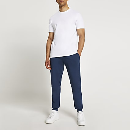 Blue & white slim fit t-shirt and joggers set
