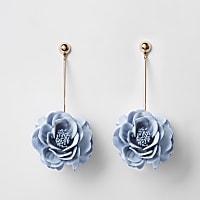 Blue 3D flower drop earrings