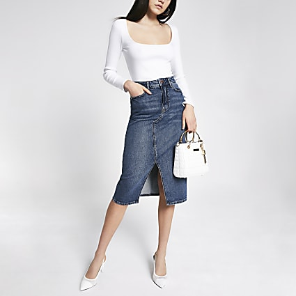 Blue A line denim midi skirt