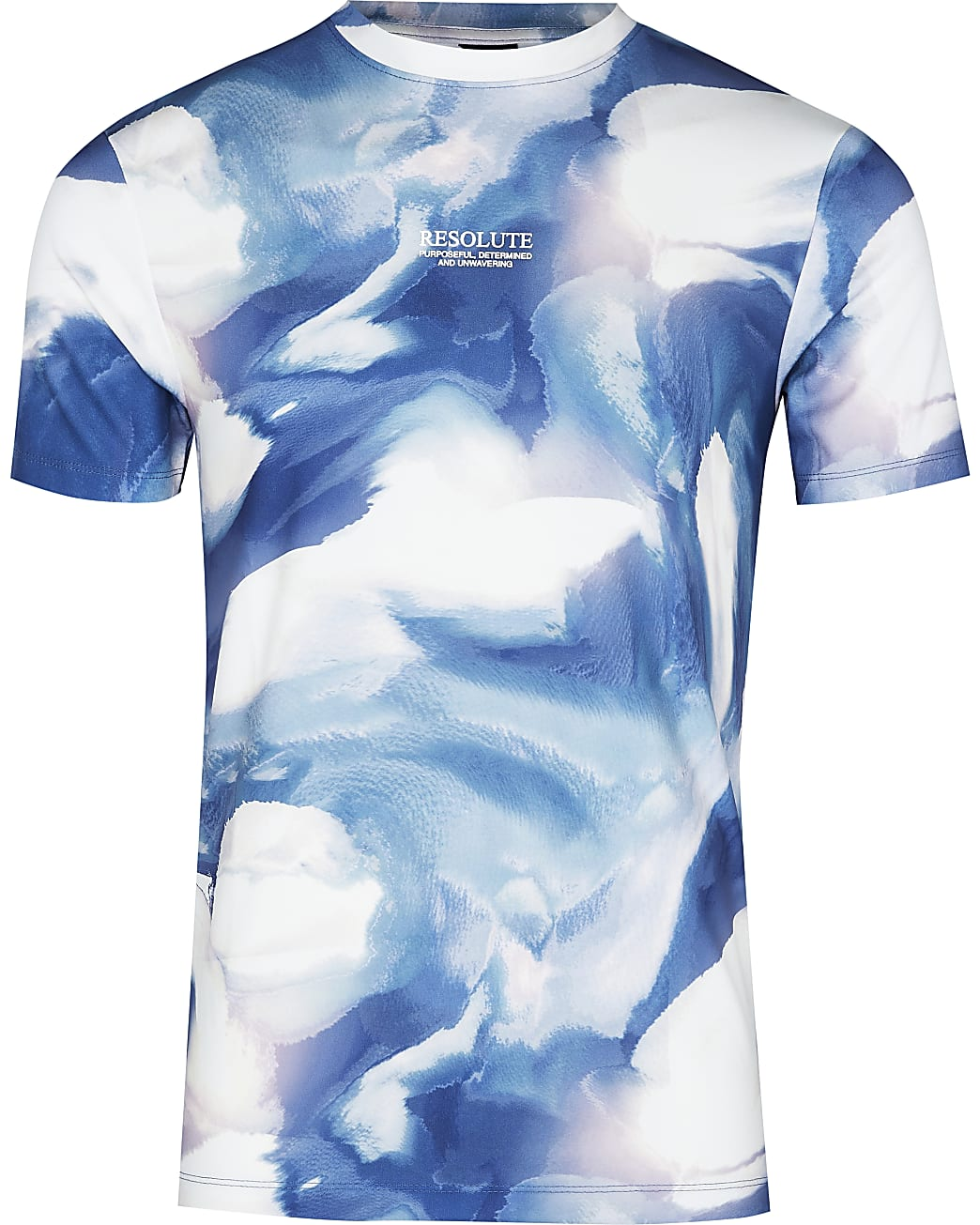Blue abstract print muscle fit t-shirt