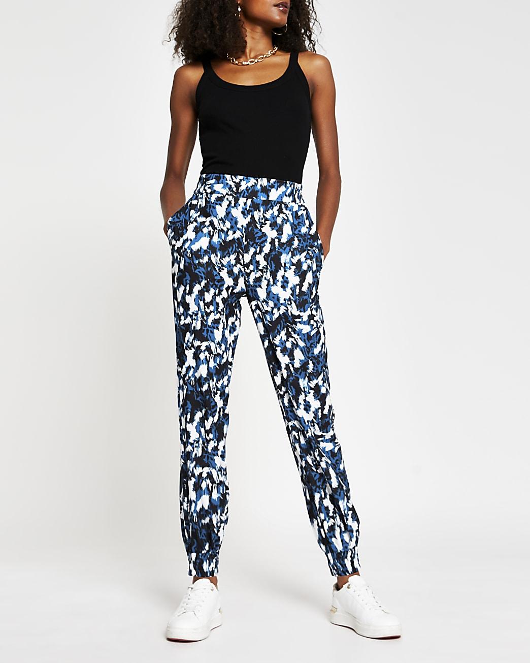 Blue abstract printed jogger