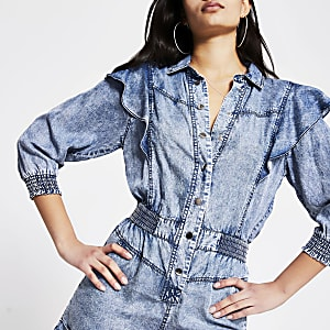 Blue acid wash frill long sleeve playsuit