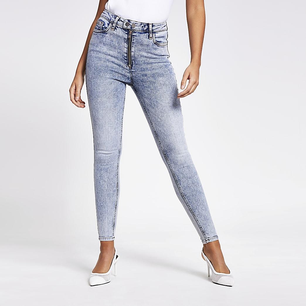 Blauwe acid washHailey jeans met hoge taille