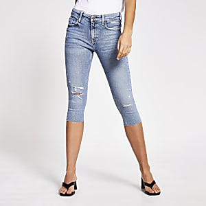 Blue Amelie mid rise denim pedal pusher