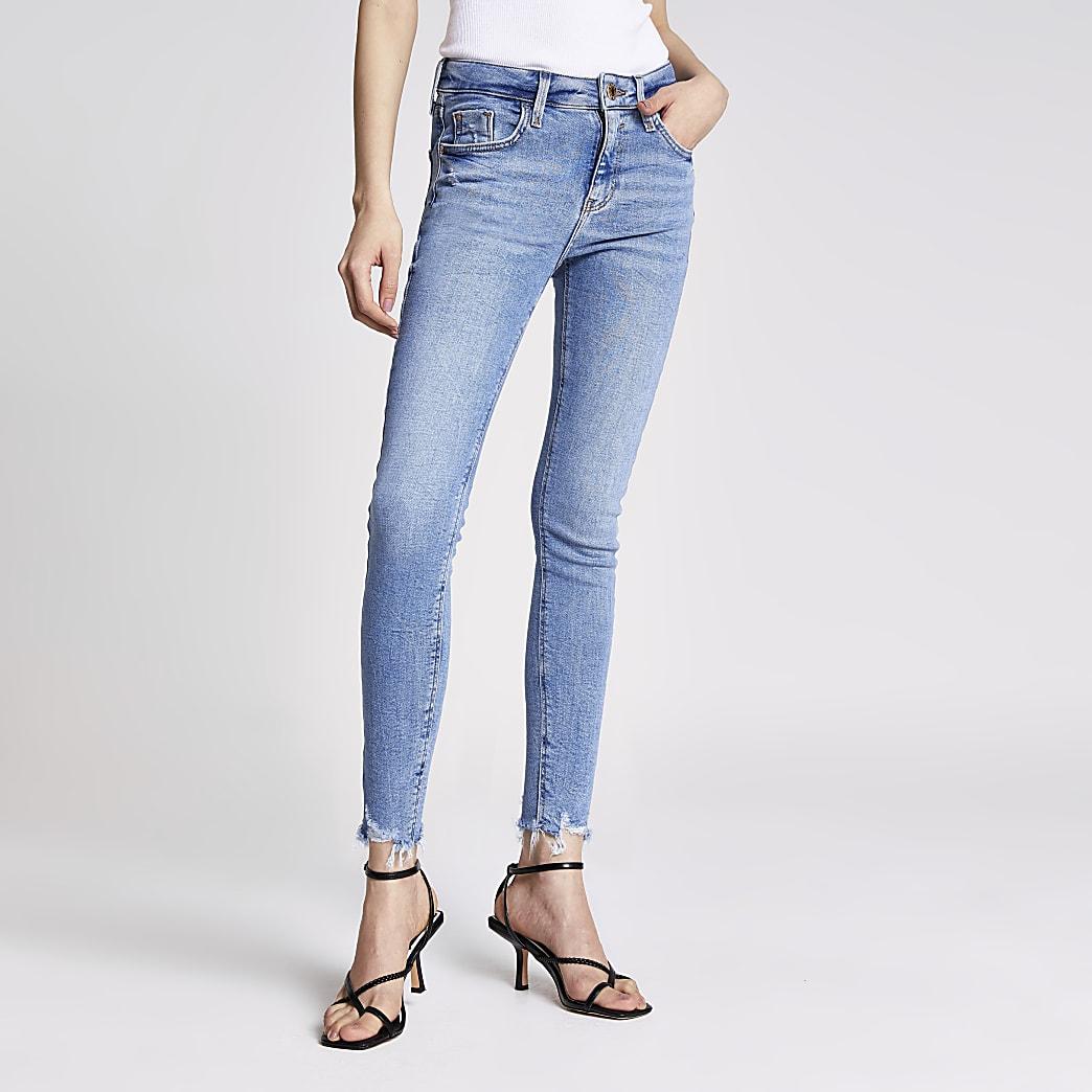 Amelie – Mittelhohe Skinny Jeans in Blau