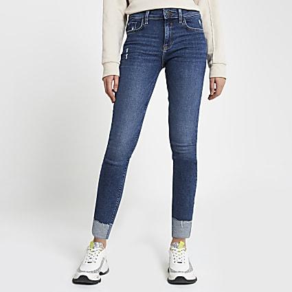Blue Amelie turn up hem skinny jeans