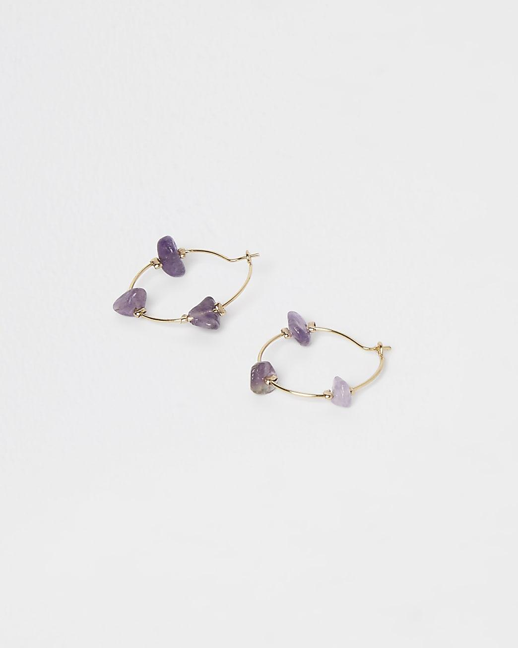 Blue amethyst hoop earrings