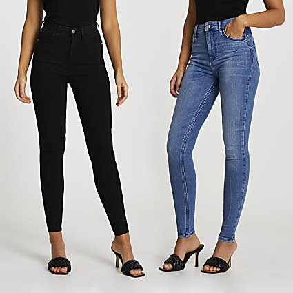 Blue and black high waisted jeans multipack