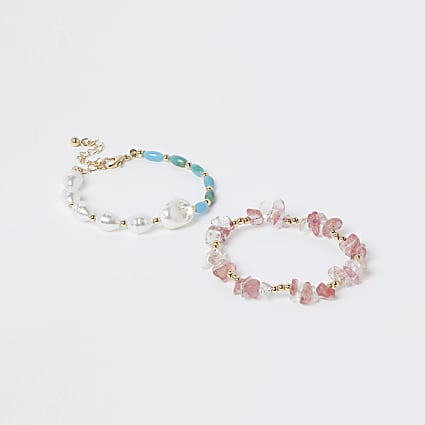 Blue and pink mixed stone bracelets 2 pack