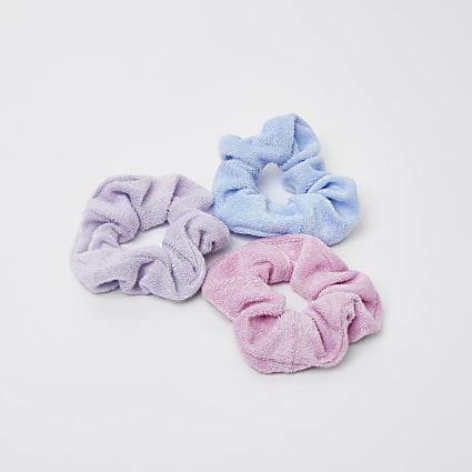 Blue & pink pastel scrunchies 3 pack
