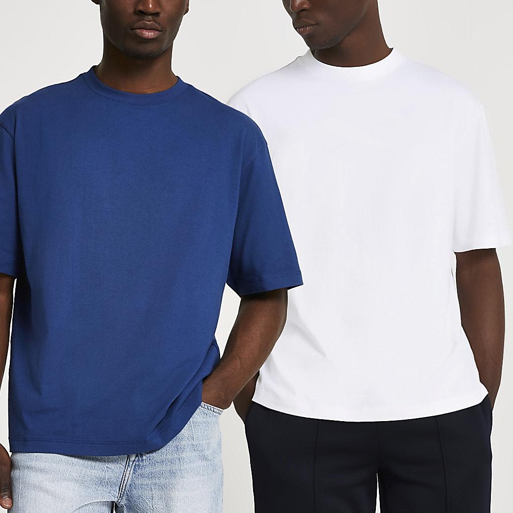 Blue & white oversized t-shirts 2 Pack