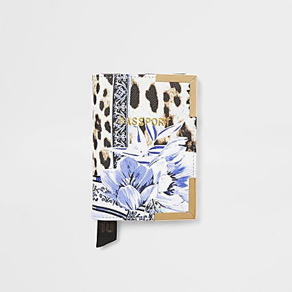 Blue animal and floral print passport holder