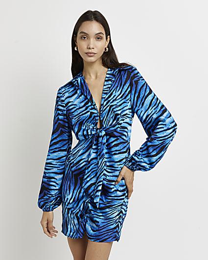 Blue animal print tie front mini dress