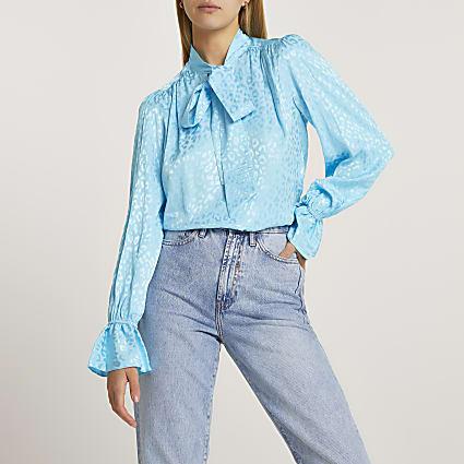 Blue animal pussybow blouse