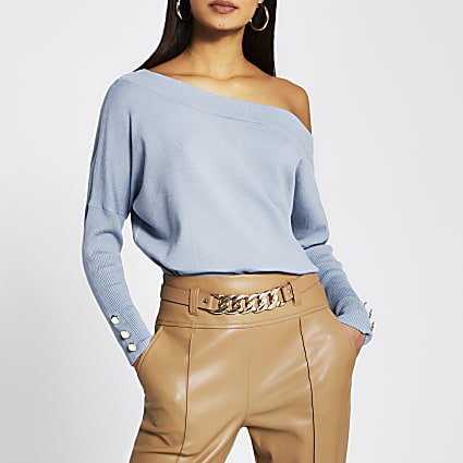 Blue asymmetric button detail top