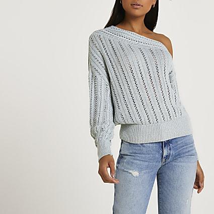 Blue asymmetric long sleeve jumper