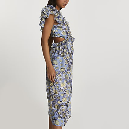 Blue back cut out paisley print dress