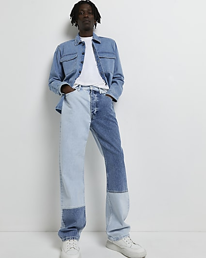 Blue baggy fit patchwork ripped jeans