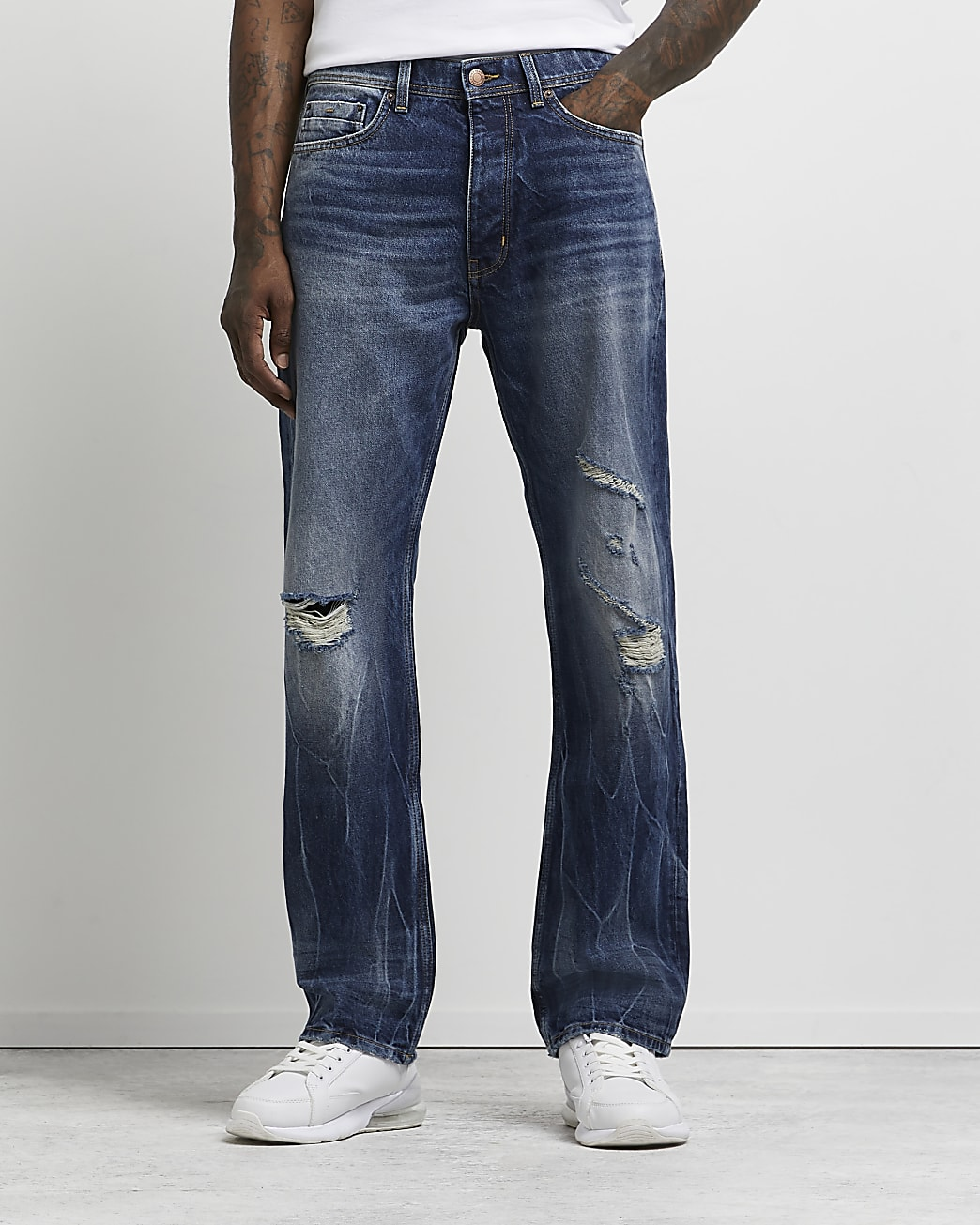 Blue baggy fit ripped jeans