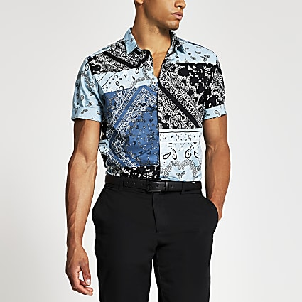 Blue bandana print regular fit shirt