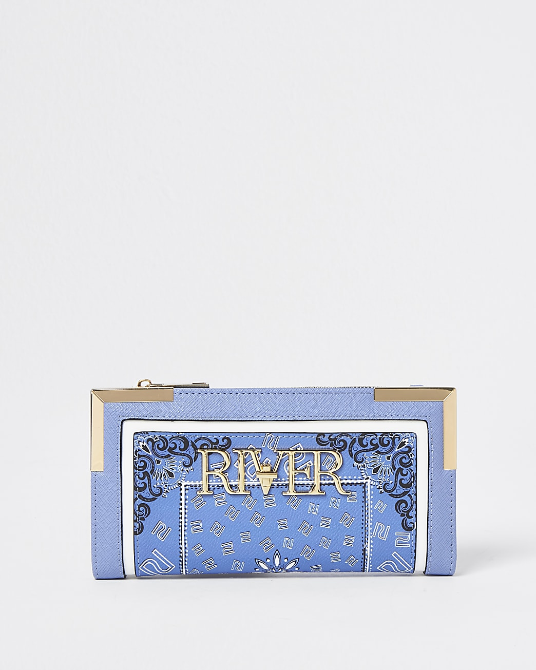 Blue bandana scarf print purse