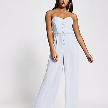 Blue bandeau button front jumpsuit