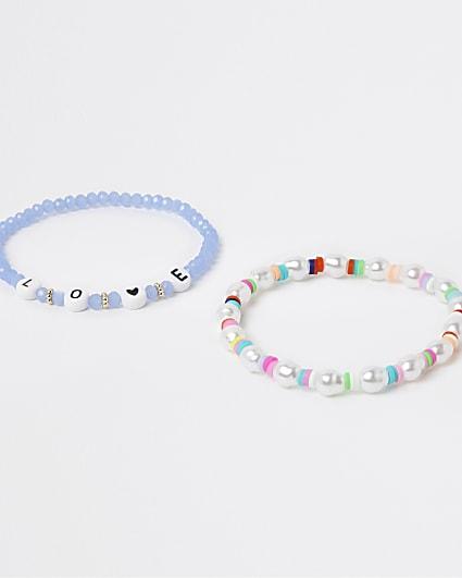 Blue beaded 'love' bracelet