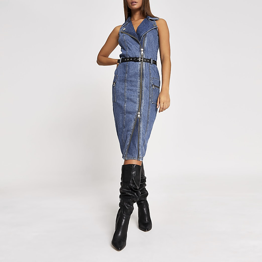 Blue belted midi biker denim dress