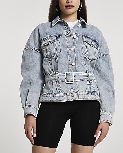 Blue belted oversized denim jacket