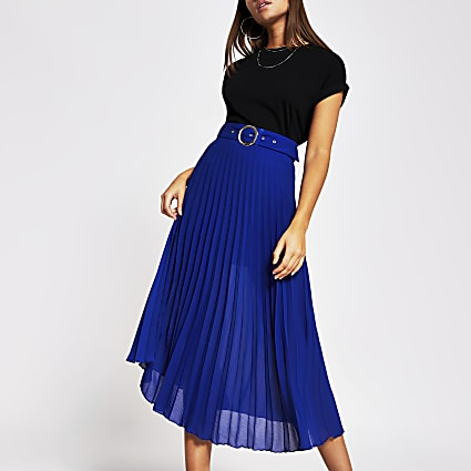 Blue belted pleated midi skirt