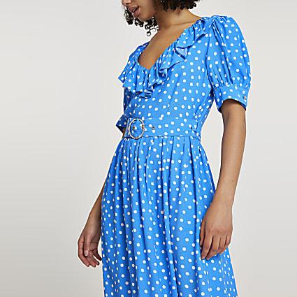 Blue belted spot print frill hem midi dress