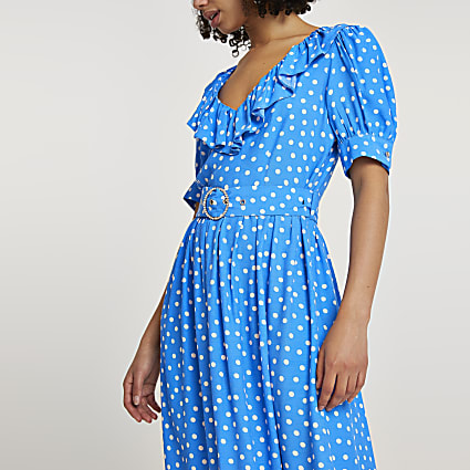 Blue belted spot print frill hem midi dress