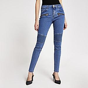 Amelie– Blaue Super Skinny Jeans im Biker-Look
