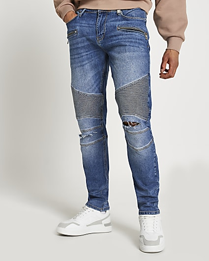 Blue biker ripped relaxed skinny fit jeans