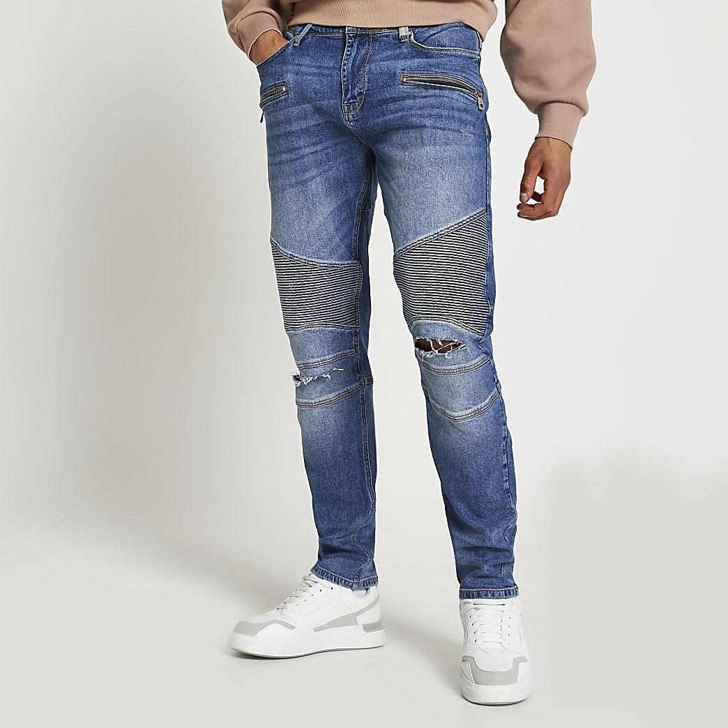 Blue biker slim-skinny fit Grant jeans