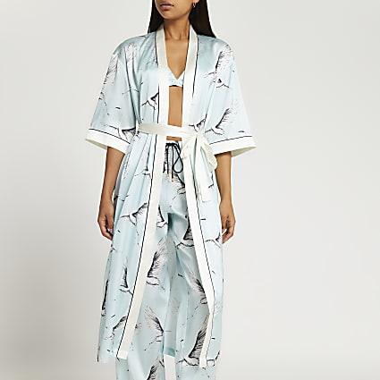 Blue bird print kimono robe