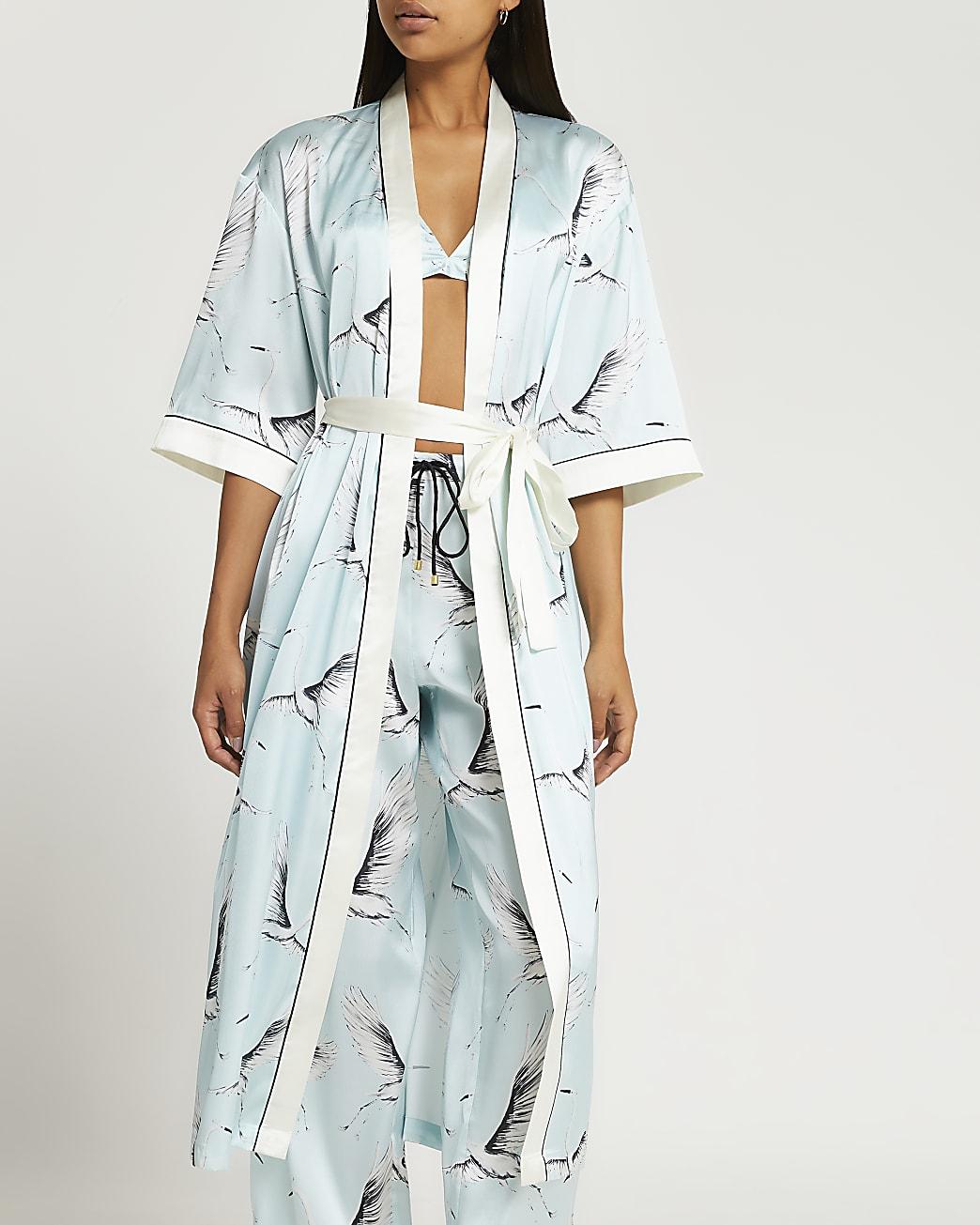 Blue bird print kimono
