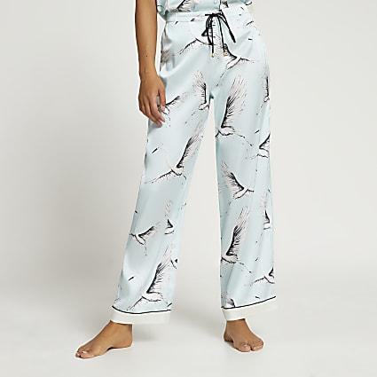 Blue bird print pyjama trousers